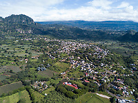 Cuatepetitla and house Aerial drone photos, Chichinautzin ecological reserve, San Jose de los Laureles, Tlayacapan, Morelos, Mexico