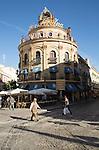 El Gallo Azul building cafe in central built in 1929 advertising Fundador brandy, Jerez de la Frontera, Spain