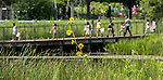 School children make their way across a bridge at the Lincoln Park Zoo Wednesday, July 20, 2016. (DePaul University/Jamie Moncrief)