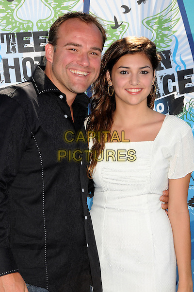 DAVID DeLUISE & RILEY DeLUISE.Teen Choice Awards 2010 - Arrivals held at Universal Studios Gibson Amphitheatre, Universal City, California, USA..August 8th, 2010 .half length white dress black shirt daughter father dad family .CAP/ADM/BP.©Byron Purvis/AdMedia/Capital Pictures.