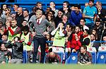 Arsenal's Alexis Sanchez appears to laugh after Alexandre Lacazette's miss during the premier league match at Stamford Bridge Stadium, London. Picture date 17th September 2017. Picture credit should read: David Klein/Sportimage