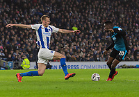 West Bromwich Albion's Jonathan Leko (right) is tackled by  Brighton & Hove Albion's Dan Burn (left) <br /> <br /> Photographer David Horton/CameraSport<br /> <br /> Emirates FA Cup Fourth Round - Brighton and Hove Albion v West Bromwich Albion - Saturday 26th January 2019 - The Amex Stadium - Brighton<br />  <br /> World Copyright © 2019 CameraSport. All rights reserved. 43 Linden Ave. Countesthorpe. Leicester. England. LE8 5PG - Tel: +44 (0) 116 277 4147 - admin@camerasport.com - www.camerasport.com