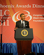 September 24, 2011  (Washington, DC)   U.S. President Barack Obama addresses attendees of the Phoenix Awards Dinner at the Convention Center in Washington, DC.  The Phoenix Award is given to individuals that positively impact the African-American experience.  The Dinner concluded a week-long series of activities and panel discussions during the 41st Annual Legislative Conference of the Congressional Black Caucus Foundation.   (Photo by Don Baxter/Media Images International)
