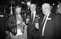 L-R Chef Alistair Little, Peter Boizot (founder of Pizza Express) and Antonio Carluccio at the Soho restaurateurs association inauguration London 1992<br /> CAP/AND<br /> &copy;Andy Phillips/Capital Pictures