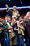Uncasville, CT:  Paulie Malignaggi celebrates  in the ring after his IBF Junior Welterweight Championship fight against Lovemore N'Dou at the Mohegan Sun Casino, June 16th, 2007. Malignaggi won the belt from N'Dou by unanimous decision.. Photo by Thierry Gourjon.