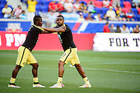 Harrison, NJ - Wednesday July 06, 2016: Carlos Quintero, William Da Silva during a friendly match between the New York Red Bulls and Club America at Red Bull Arena.