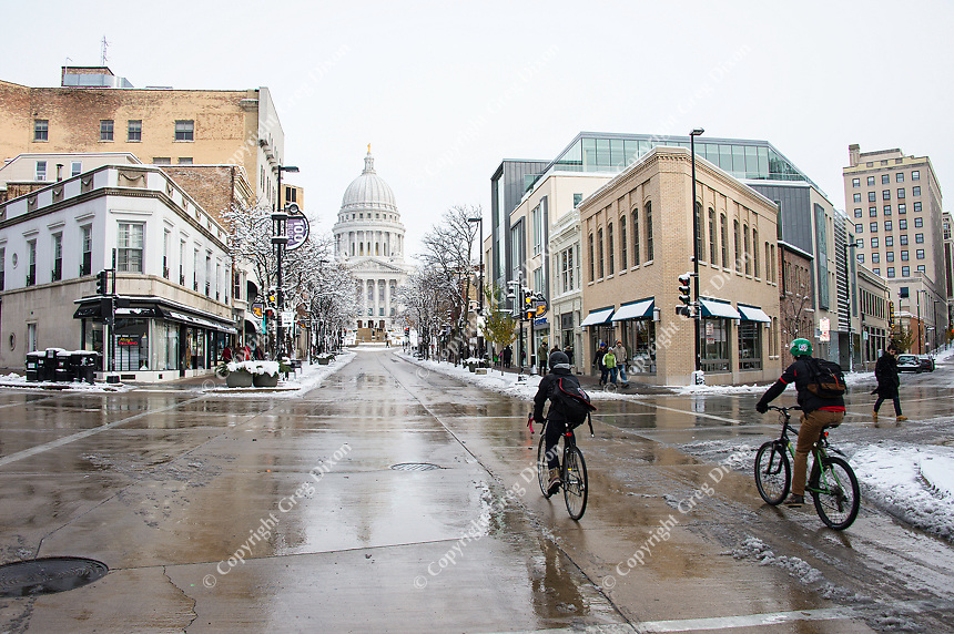 Downtown Madison, Wisconsin after winter's first snow. Saturday, November 21, 2015