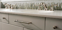 Custom sink backsplash with Chartreuse grass and Celeste sinuous background.