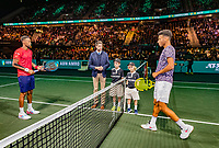 Rotterdam, The Netherlands, 16 Februari 2020, ABNAMRO World Tennis Tournament, Ahoy,<br /> Mens Final: Gaël Monfils (FRA) (L) and  Felix Auger-Aliassime (CAN) at the toss<br /> Photo: www.tennisimages.com