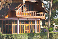 A wooden house in Durres. Durres on the coast. Albania, Balkan, Europe.