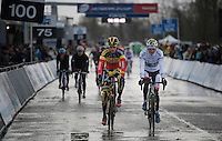 World Champion Mathieu Van der Poel (NLD/BKCP-Corendon) warming up before the race next to Belgian Champion Klaas Vantornout (BEL/Sunweb-Napoleon Games)<br /> <br /> Duinencross Koksijde WorldCup 2015