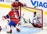 23 January 2010: New York Rangers' center Erik Christensen slides into the net during a game against the Montreal Canadiens at the Bell Centre in Montreal, Quebec, Canada. The Canadiens shut out the Rangers 6-0. Mandatory Credit: Ed Wolfstein Photo