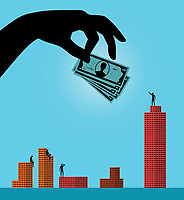 Large hand giving investment to man standing on top of tallest office building