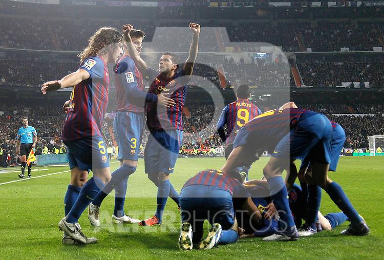 FC Barcelona's Xavi Hernandez goal during Spanish  League match on december 10th, 2011..Photo: Alex Cid-Fuentes / ALFAQUI