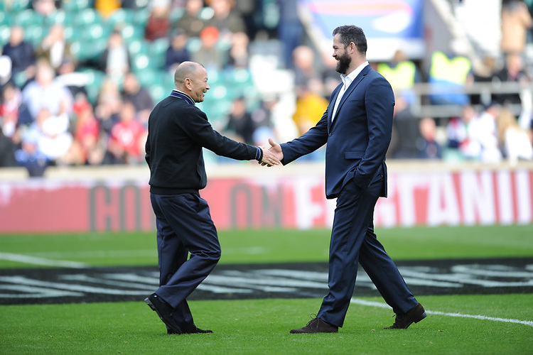 England Head Coach Eddie Jones and Ireland Head Coach Andy Farrell meet in the middle before the Guinness Six Nations match between England and Ireland at Twickenham Stadium on Sunday 23rd February 2020 (Photo by Rob Munro/Stewart Communications)