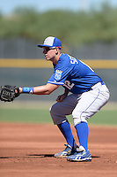 Kansas City Royals first baseman Frank Schwindel (12) during an instructional league game against the Seattle Mariners on October 2, 2013 at Surprise Stadium Training Complex in Surprise, Arizona.  (Mike Janes/Four Seam Images)