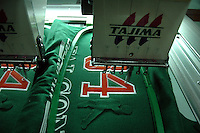 Tajima machine at work at Prem Industry's Embroidery making factory in Tirupur. Tajima is a Japan made Embroidery making machine costing about 46500 Euro, Tamilnadu. After lifting of quota system in textile export on 1st january 2005. Tirupur has become the biggest foreign currency earning town of India.