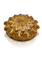 Phrygian Gold bowl with deeply beated design from Gordion. Phrygian Collection, 8th-7th century BC - Museum of Anatolian Civilisations Ankara. Turkey. Against a white background