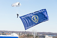Annapolis, MD - DEC 28, 2017: Team Fasttrax Parachute Team skydive into the stadium before game between Virginia and Navy at the Military Bowl presented by Northrop Grunman at Navy-Marine Corps Memorial Stadium Annapolis, MD. (Photo by Phil Peters/Media Images International)