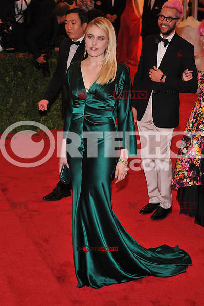 Greta Gerwig at the 'Schiaparelli And Prada: Impossible Conversations' Costume Institute Gala at the Metropolitan Museum of Art on May 7, 2012 in New York City. ©mpi03/MediaPunch Inc.
