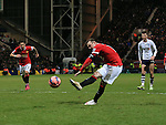 Manchester United's Wayne Rooney scoring his sides third goal<br /> <br /> FA Cup - Preston North End vs Manchester United  - Deepdale - England - 16th February 2015 - Picture David Klein/Sportimage