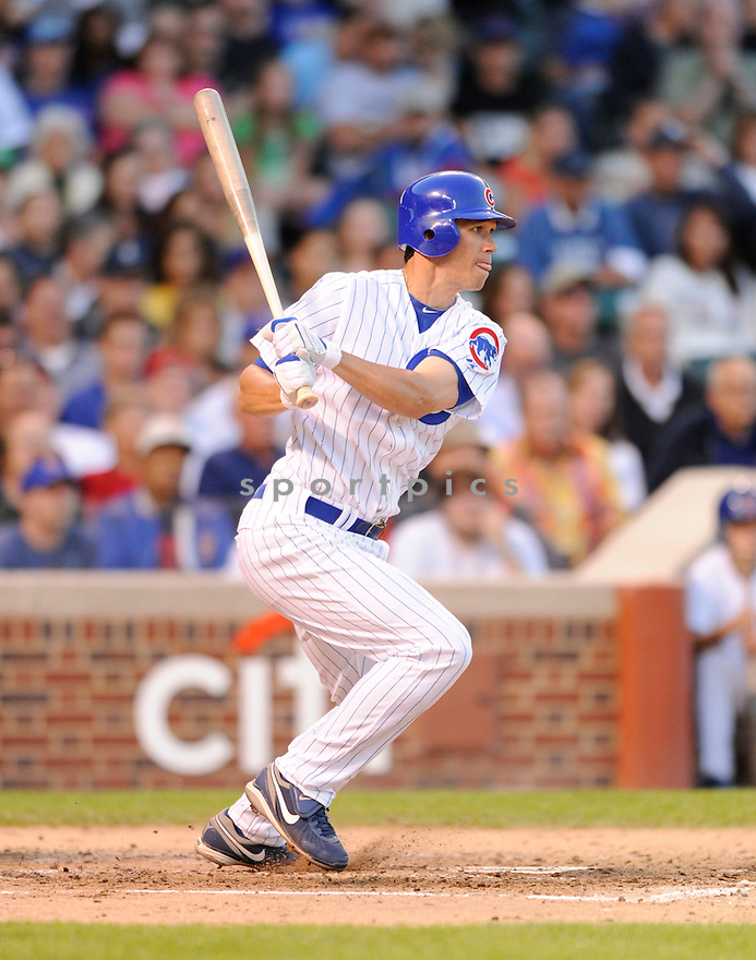 TYLER COLVIN,  of the Chicago Cubs,  in action  during the Cubs  game against the Pittsburgh Pirates in Chicago, Illinois on June 29, 2010. The Chicago Cubs beat the Pirates 3-1..