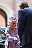 13 June 2017 - Queen Elizabeth II arrives to attend Evensong in celebration of the centenary of the Order of the Companions of Honour at the Chapel Royal Hampton Court Palace, in Richmond upon Thames, in southwest London. Photo Credit: ALPR/AdMedia