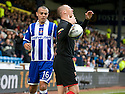 20/11/2010   Copyright  Pic : James Stewart.sct_jsp041_kilmarnock_v_rangers  .:: KENNY MILLER IS UPSET AFTER REFEREE EUAN NORRIS DOESN'T GIVE A THROW IN AFTER IT HIT THE LINESMAN AND WAS RULED STILL IN PLAY ::.James Stewart Photography 19 Carronlea Drive, Falkirk. FK2 8DN      Vat Reg No. 607 6932 25.Telephone      : +44 (0)1324 570291 .Mobile              : +44 (0)7721 416997.E-mail  :  jim@jspa.co.uk.If you require further information then contact Jim Stewart on any of the numbers above.........
