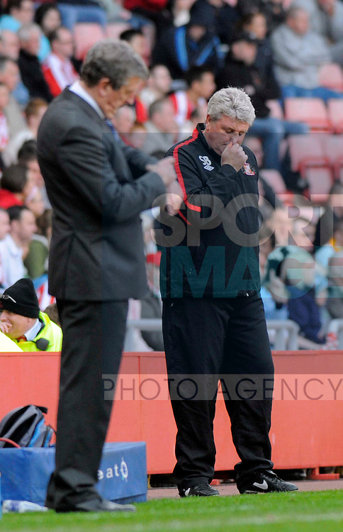 Sunderland's manager Steve Bruce and West Bromwich's manager Roy Hodgson.