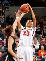 Virginia Cavaliers guard Ataira Franklin (23) shoots the ball during the game against Florida State Jan. 29, 2012 in Charlottesville, Va.  Virginia defeated Florida State 62-52.