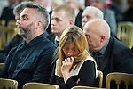 "© Joel Goodman - 07973 332324 . 14/10/2013 . Gorton Monastery , Manchester , UK . Mourners sit and listen to music being played during the service . The Humanist funeral of photographer Harry Goodwin , attended by footballers and other celebrities and featuring music by artists he had photographed including ""He Ain't Heavy, He's My Brother"" by the Hollies and "" Happiness "" by Ken Dodd . Photo credit : Joel Goodman"