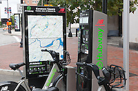 The Kenmore Square/Commonwealth Ave. station of the New Balance Hubway Bike Sharing system launched in Boston, Massachusetts on July 28, 2011.