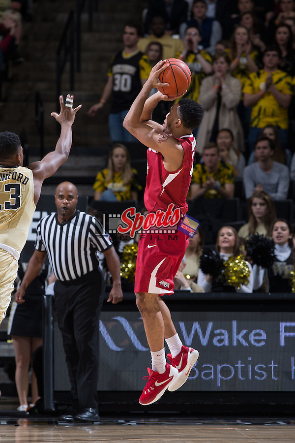 Jabril Durham (4) of the Arkansas Razorbacks attempts a jump shot during second half action against the Wake Forest Demon Deacons at the LJVM Coliseum on December 4, 2015 in Winston-Salem, North Carolina.  The Demon Deacons defeated the Razorbacks 88-85.  (Brian Westerholt/Sports On Film)