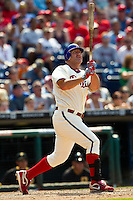 Philadelphia Phillies pinch hitter Jim Thome #25 watches a deep foul ball during the Major League Baseball game against the Pittsburgh Pirates on June 28, 2012 at Citizens Bank Park in Philadelphia, Pennsylvania. This would be Thome's final appearance for the Phillies before he was traded a few days later. The Pirates defeated the Phillies 5-4. (Andrew Woolley/Four Seam Images)