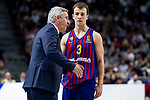 Coach Svetislav Pesic and Kevin Pangos of FC Barcelona Lassa during Turkish Airlines Euroleague match between Real Madrid and FC Barcelona Lassa at Wizink Center in Madrid, Spain. December 13, 2018. (ALTERPHOTOS/Borja B.Hojas)