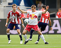 NY RedBulls midfielder Seth Stammler (6)attempts to move around Chivas USA players. Chivas USA defeated the Red Bulls of New York 2-0 at Home Depot Center stadium in Carson, California April 10, 2010.  .