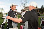 19 MAY 2016: Hugo Bernard of St. Leo University is congratulated by a teammate during the 2016 Division II Men's Individual Golf Championship held at Green Valley Ranch Golf Club in Denver, CO. Bernard shot -13 to win the individual national title. Justin Tafoya/NCAA Photos