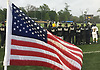 The American flag wavers near the Adelphi University men's lacrosse team sideline as the Panthers take on Pace in the first round of the NCAA Division II Tournament at Motamed Field in Garden City, NY on Saturday, May 13, 2017.