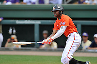 Center fielder Kyle Lewis (20) of the Mercer Bears bats in a SoCon Tournament game against Western Carolina on Saturday, May 28, 2016, at Fluor Field at the West End in Greenville, South Carolina. Mercer won, 9-8. (Tom Priddy/Four Seam Images)