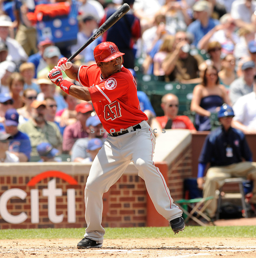HOWIE KENDRICK, of the Los Angeles Angels, in action during the Angels game against the Chicago Cubs at Wrigley Field in Chicago, IL on June 18, 2010.  ..The Angels won the game 7-6...