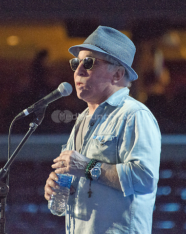 Singer and songwriter Paul Simon rehearses &quot;Bridge over Troubled Water&quot; prior to the start of the 2016 Democratic National Convention held at the Wells Fargo Center in Philadelphia, Pennsylvania on Sunday, July 24, 2016.<br /> Credit: Ron Sachs / CNP/MediaPunch<br /> (RESTRICTION: NO New York or New Jersey Newspapers or newspapers within a 75 mile radius of New York City)