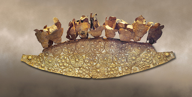 Mycenaean Gold diadem from Grave III, 'Grave of a Women', Grave Circle A, Myenae, Greece. National Archaeological Museum Athens.<br /> <br /> An impressive Mycenaean gold diadem with repousse rosettes and thin sheets applied to the top. .Cat No 1. 16th century BC.<br /> <br /> Shaft Grave III, the so-called 'Grave of the Women,' contained three female and two infant interments. The women were literally covered in gold jewelry and wore massive gold diadems, while the infants were overlaid with gold foil.