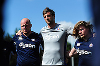 Luke Charteris of Bath Rugby looks on in a huddle. Bath Rugby pre-season training session on August 9, 2016 at Farleigh House in Bath, England. Photo by: Patrick Khachfe / Onside Images