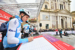 Israel Cycling Academy at sign on before the start of Stage 3 of Il Giro di Sicilia running 186km from Caltanissetta to Ragusa, Italy. 5th April 2019.<br /> Picture: LaPresse/Massimo Paolone | Cyclefile<br /> <br /> <br /> All photos usage must carry mandatory copyright credit (© Cyclefile | LaPresse/Massimo Paolone)