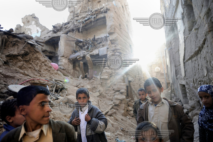 Children in the old city of Sada, destroyed by government bombing during the Houthis insurgency. Since 2004 hundreds of people have been killed and thousands displaced as a result of fighting between Shia rebels and government forces in the northern governorate of Saada.