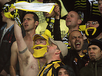 Phoenix fans celebrate victory during the A-League football match between Wellington Phoenix and Perth Glory at Westpac Stadium, Wellington, New Zealand on Sunday, 16 August 2009. Photo: Dave Lintott / lintottphoto.co.nz