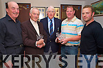 Dunloe gents captain Andrew Power, centre, with winners of the of the Captains Prize competition on Sunday. Pictured are Fred Kennedy, fourth, Padraig Coffey senior, second, Haulie Clifford, first, and Shane Ferris, third..NO FEE...........