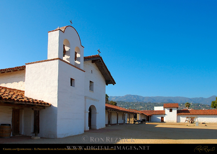Chapel and Quadrangle, El Presidio Real de Santa Barbara 1782, Santa Barbara, California