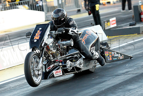01.04.2016. Las Vegas, Nevada, USA. Top Fuel Nitro Harley drag bike of Len Darnell (TFH2) in action during the DENSO Spark Plugs NHRA Nationals at The Strip at Las Vegas Motor Speedway in Las Vegas, NV.