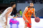 Real Madrid's player Jeffery Taylor and Valencia Basket's Diot during the first match of the Semi Finals of Liga Endesa Playoff at Barclaycard Center in Madrid. June 02. 2016. (ALTERPHOTOS/Borja B.Hojas)
